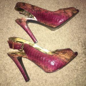 Fernando Cherrywood Snake Skin Heels